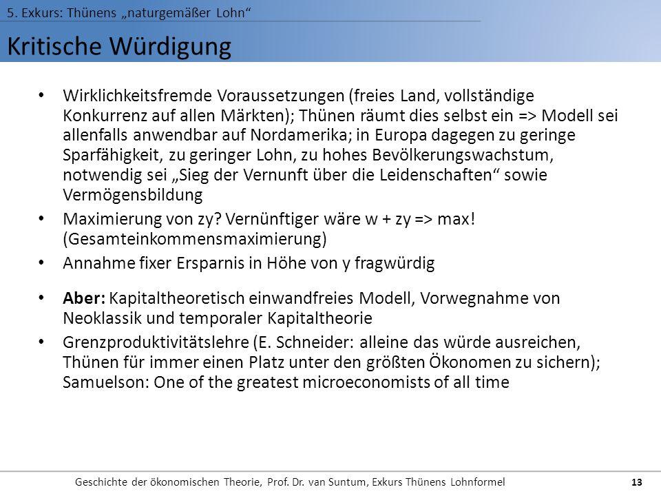 """5. Exkurs: Thünens """"naturgemäßer Lohn"""