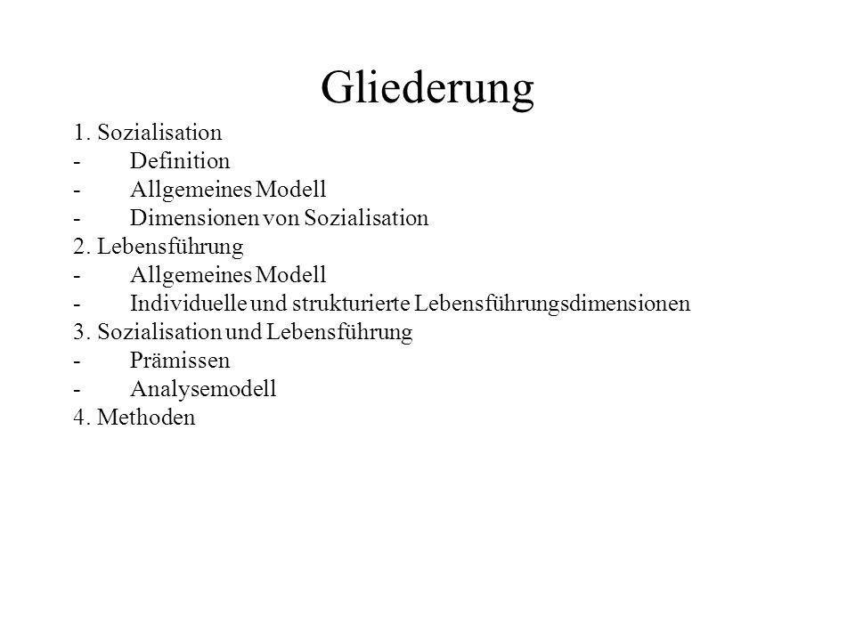 Gliederung 1. Sozialisation Definition Allgemeines Modell