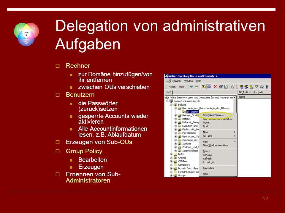 Delegation von administrativen Aufgaben