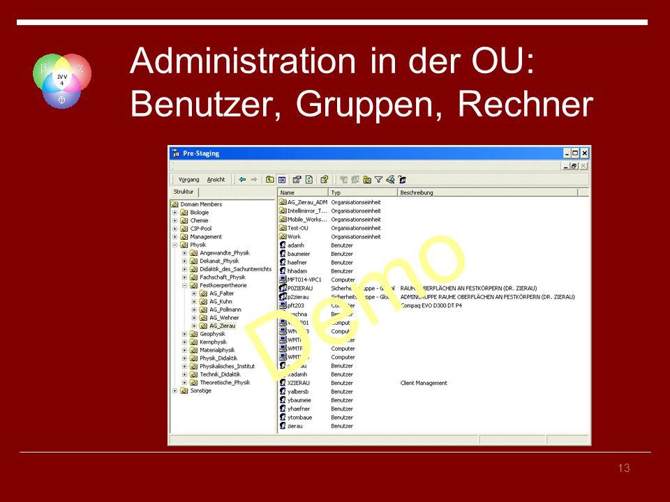 Administration in der OU: Benutzer, Gruppen, Rechner