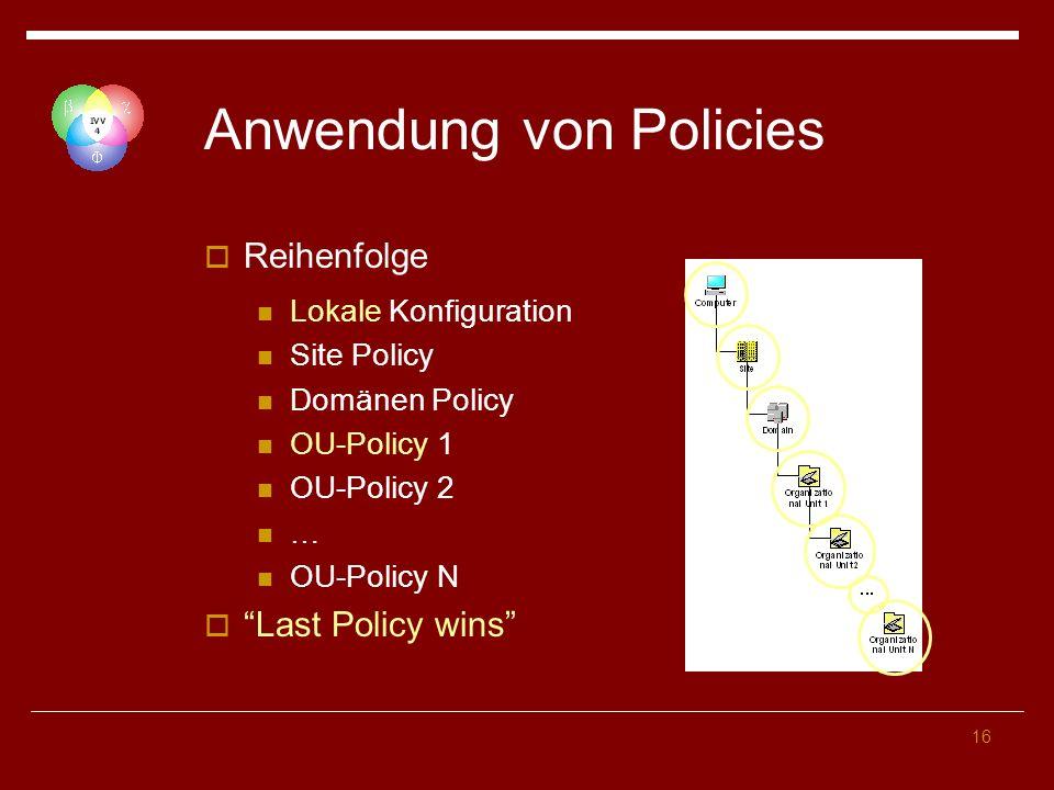 Anwendung von Policies