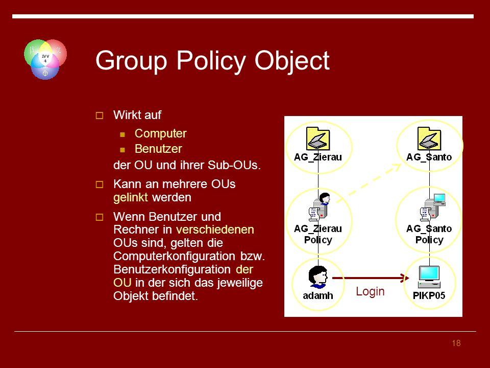 Group Policy Object Wirkt auf der OU und ihrer Sub-OUs.