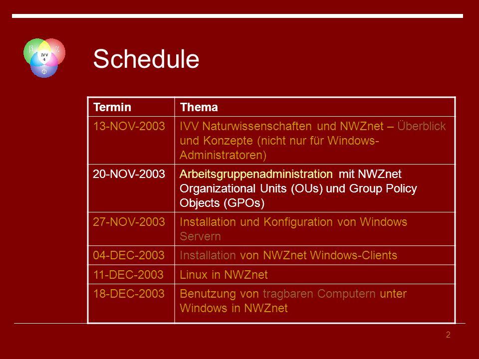 Schedule Termin Thema 13-NOV-2003
