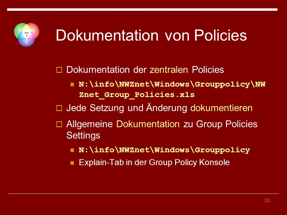 Dokumentation von Policies