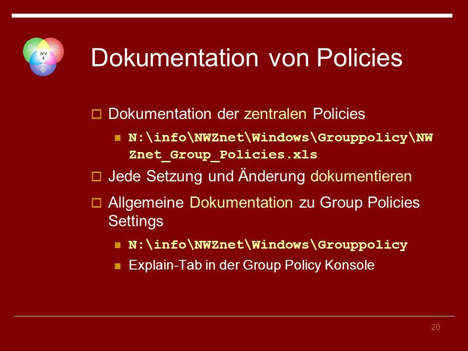 Dokumentation von Policies