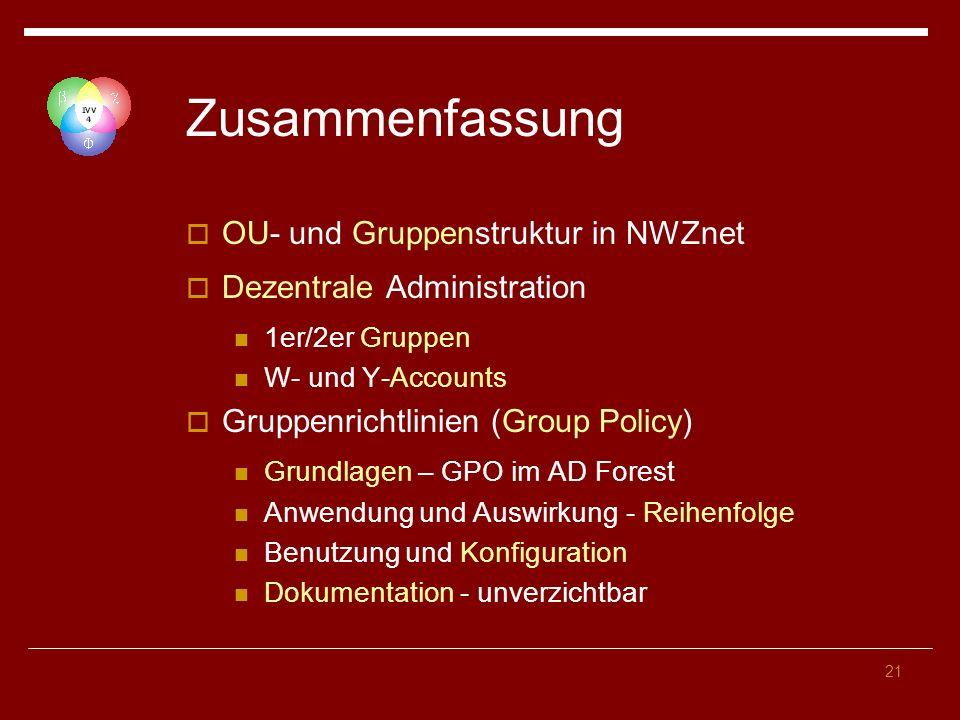Zusammenfassung OU- und Gruppenstruktur in NWZnet