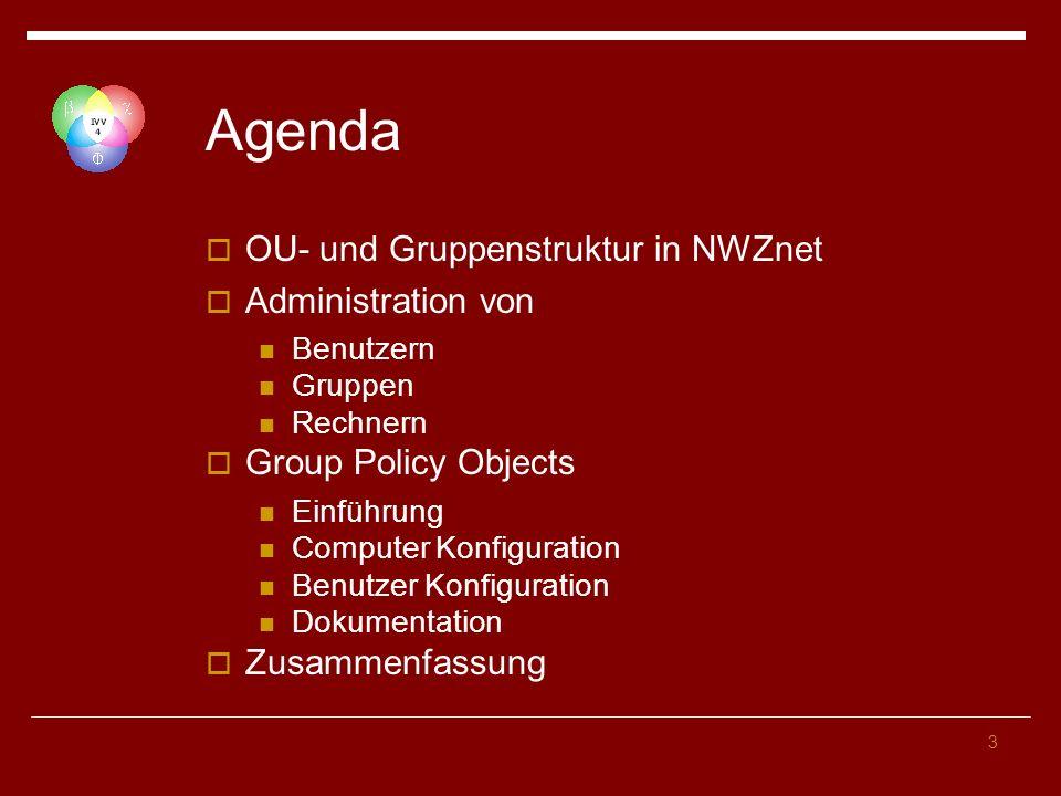 Agenda OU- und Gruppenstruktur in NWZnet Administration von