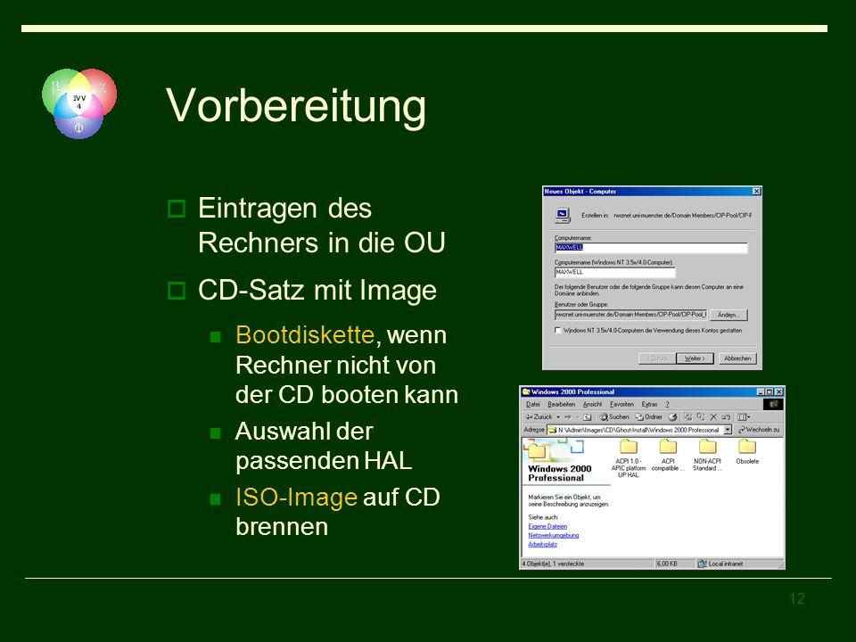 Vorbereitung Eintragen des Rechners in die OU CD-Satz mit Image