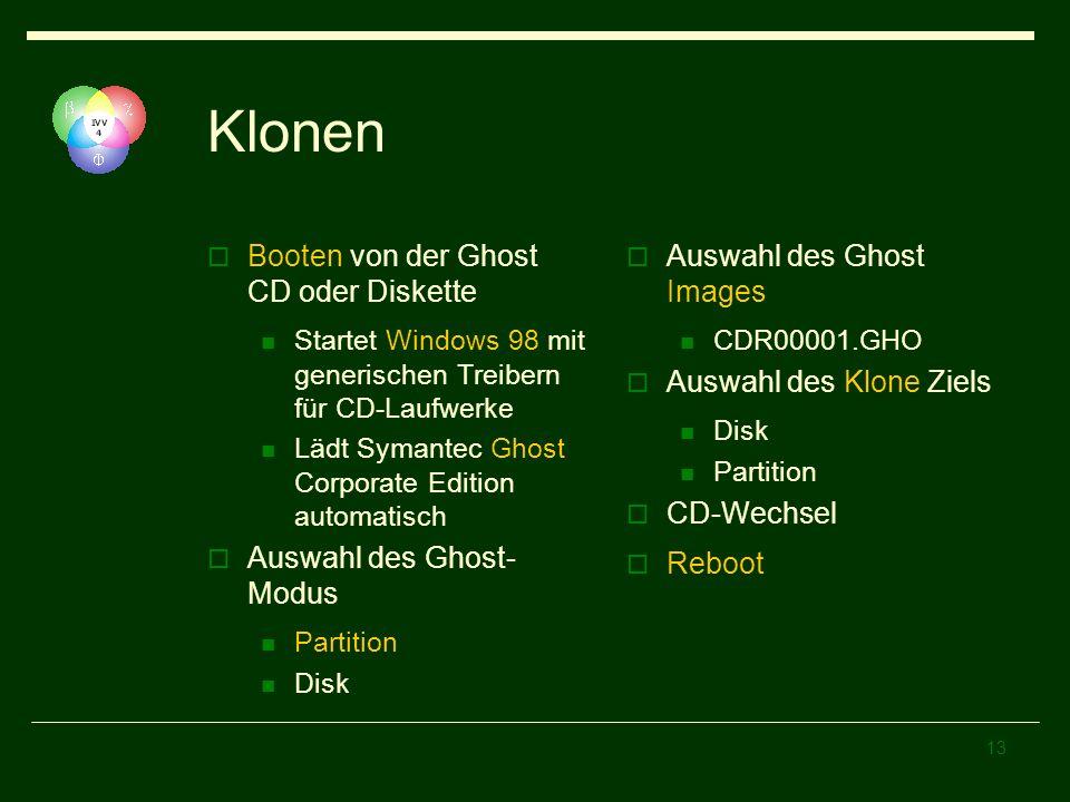 Klonen Booten von der Ghost CD oder Diskette Auswahl des Ghost-Modus