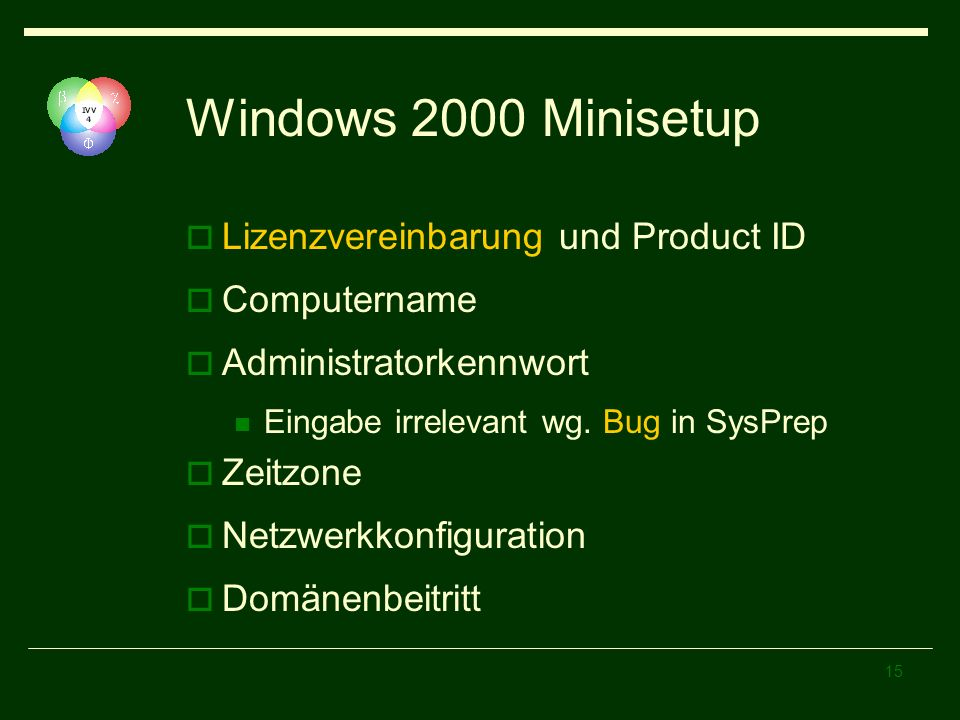 Windows 2000 Minisetup Lizenzvereinbarung und Product ID Computername