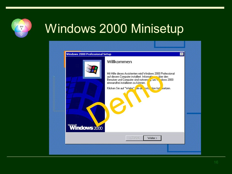 Windows 2000 Minisetup Demo