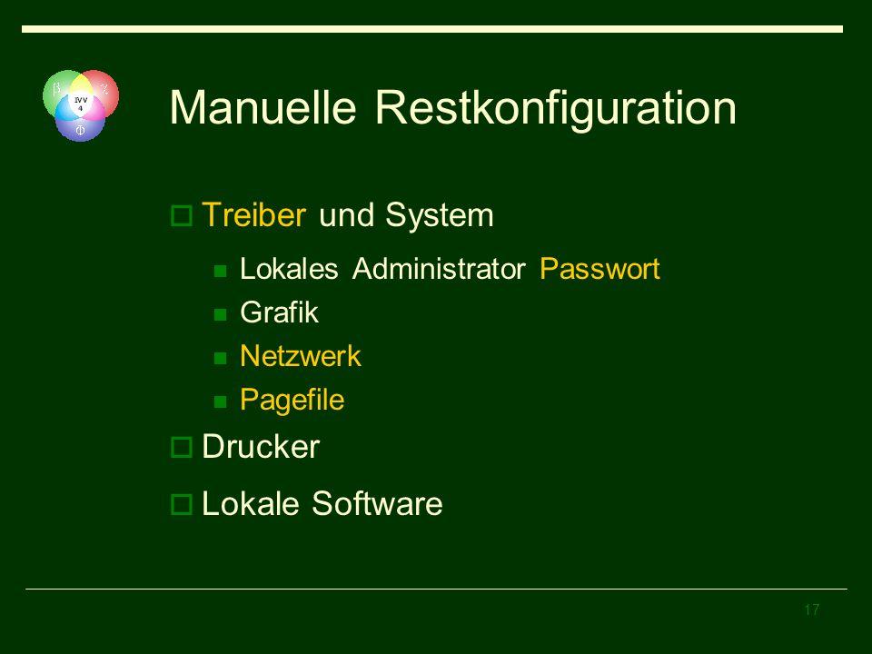 Manuelle Restkonfiguration