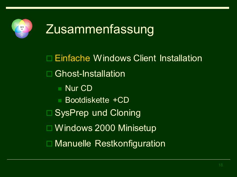 Zusammenfassung Einfache Windows Client Installation