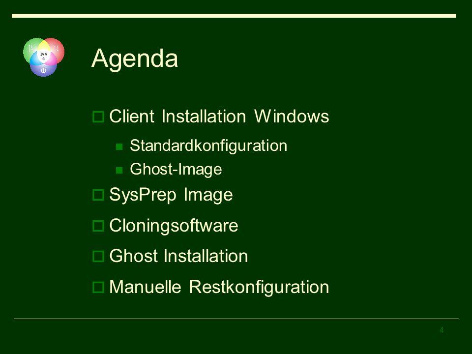 Agenda Client Installation Windows SysPrep Image Cloningsoftware