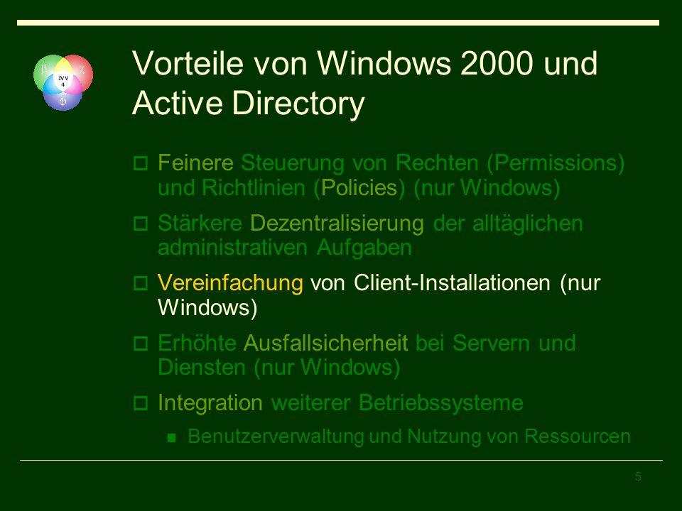 Vorteile von Windows 2000 und Active Directory