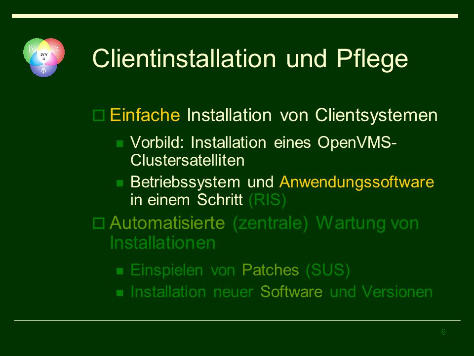 Clientinstallation und Pflege