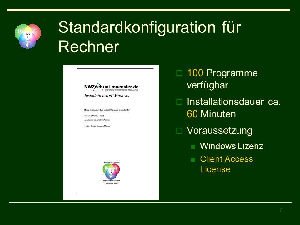 Standardkonfiguration für Rechner
