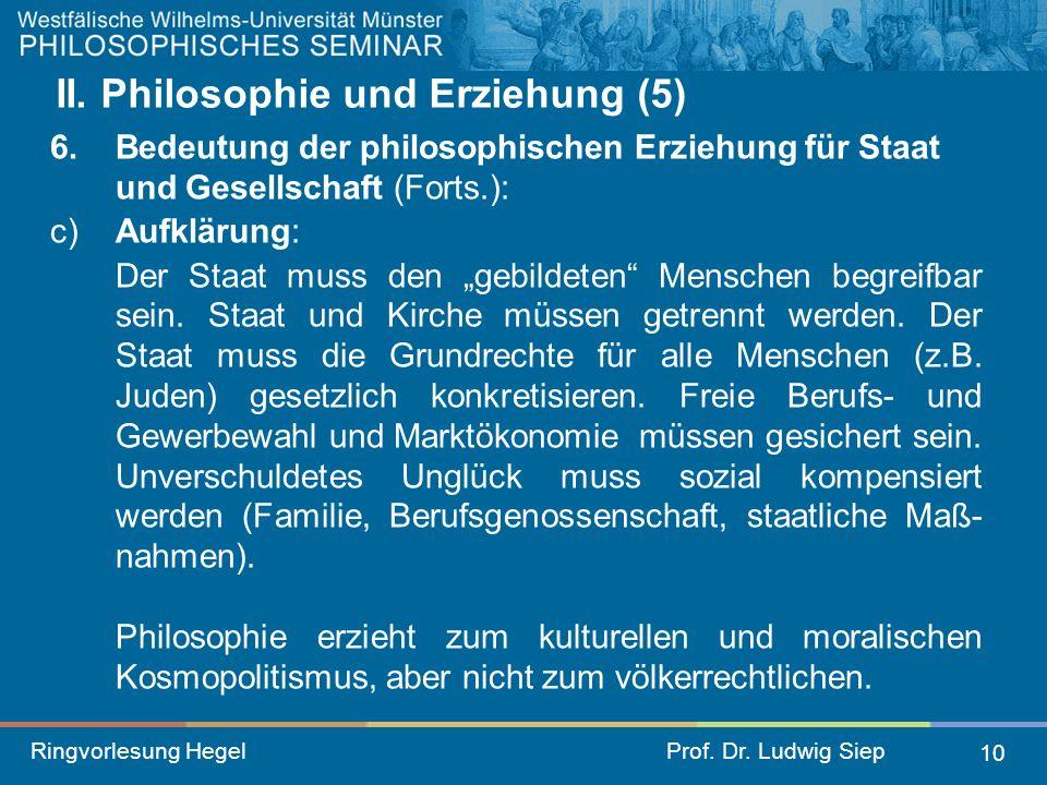 II. Philosophie und Erziehung (5)