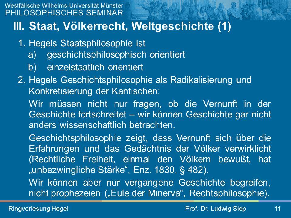 III. Staat, Völkerrecht, Weltgeschichte (1)
