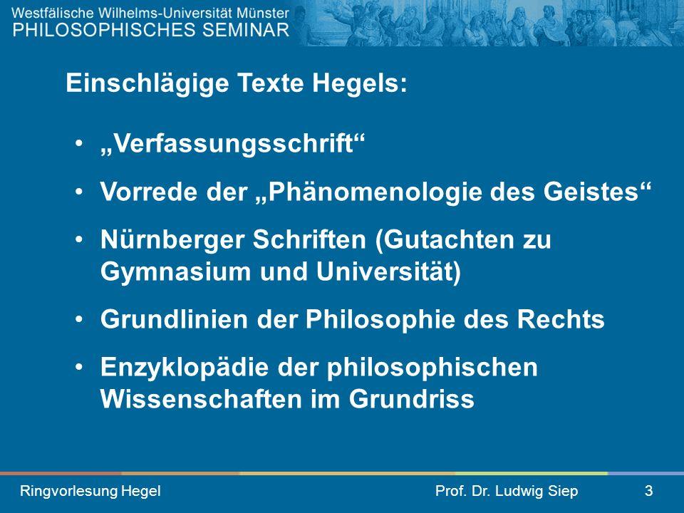 Einschlägige Texte Hegels: