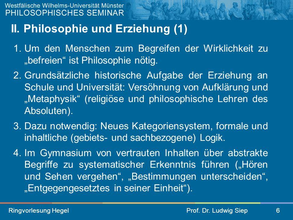 II. Philosophie und Erziehung (1)