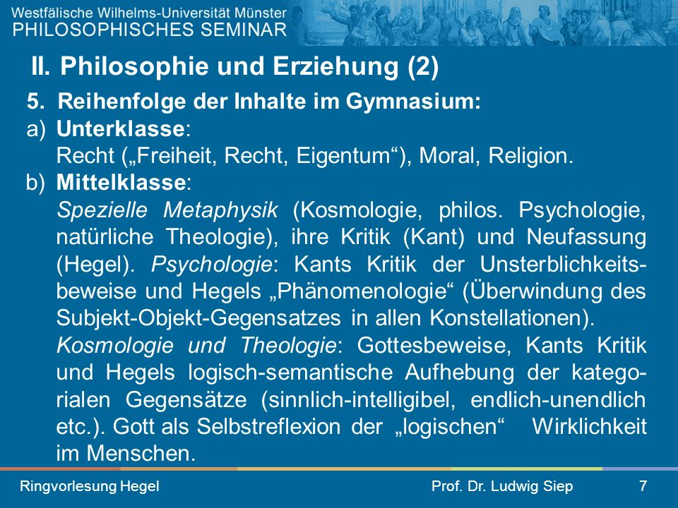 II. Philosophie und Erziehung (2)