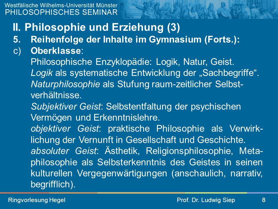 II. Philosophie und Erziehung (3)