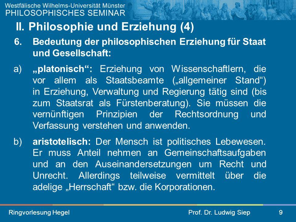 II. Philosophie und Erziehung (4)