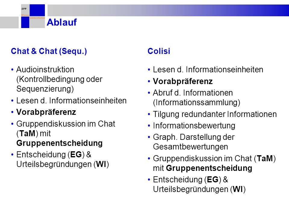 Ablauf Chat & Chat (Sequ.) Colisi