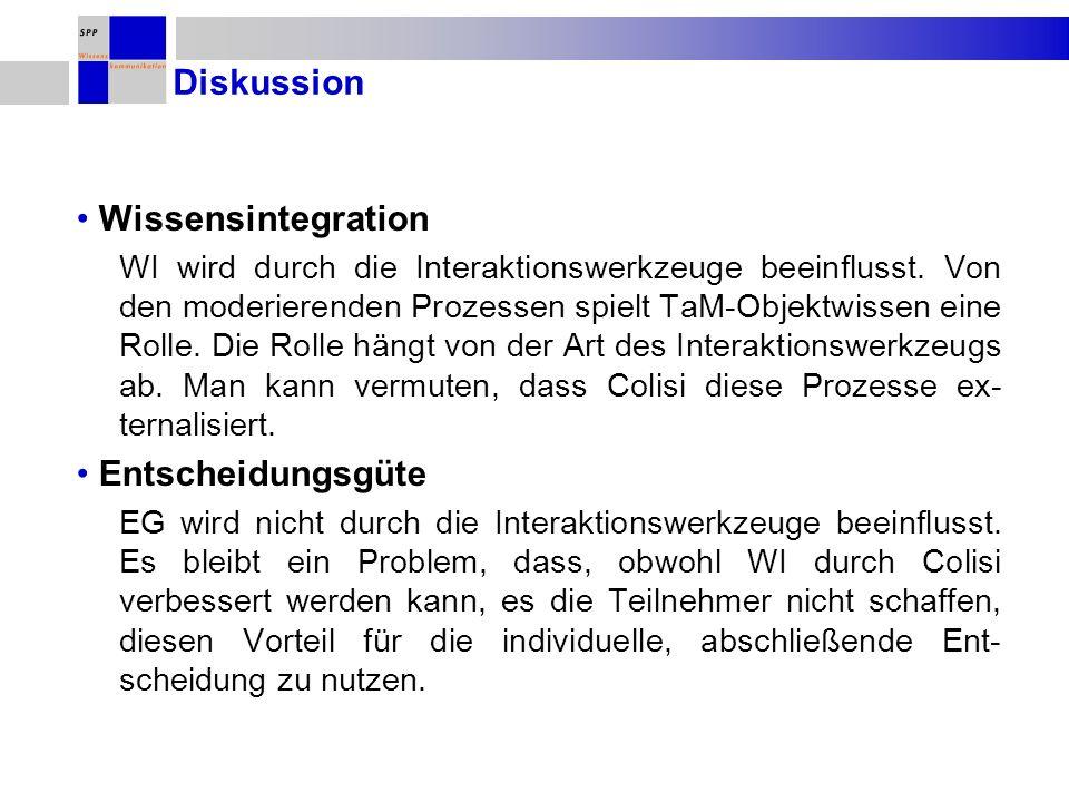 Diskussion Wissensintegration Entscheidungsgüte