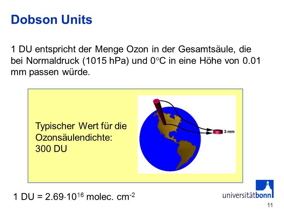 Dobson Units 1 DU entspricht der Menge Ozon in der Gesamtsäule, die bei Normaldruck (1015 hPa) und 0C in eine Höhe von 0.01 mm passen würde.