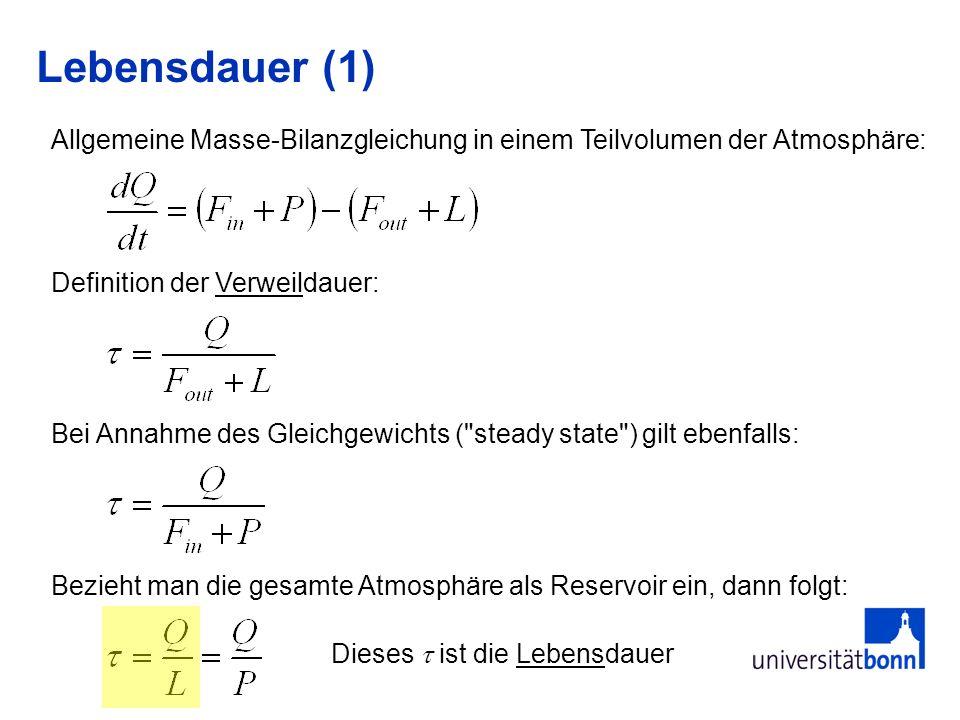 Lebensdauer (1) Allgemeine Masse-Bilanzgleichung in einem Teilvolumen der Atmosphäre: Definition der Verweildauer: