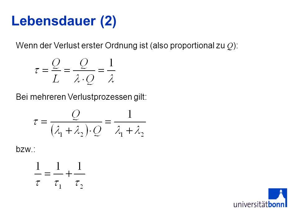 Lebensdauer (2) Wenn der Verlust erster Ordnung ist (also proportional zu Q): Bei mehreren Verlustprozessen gilt: