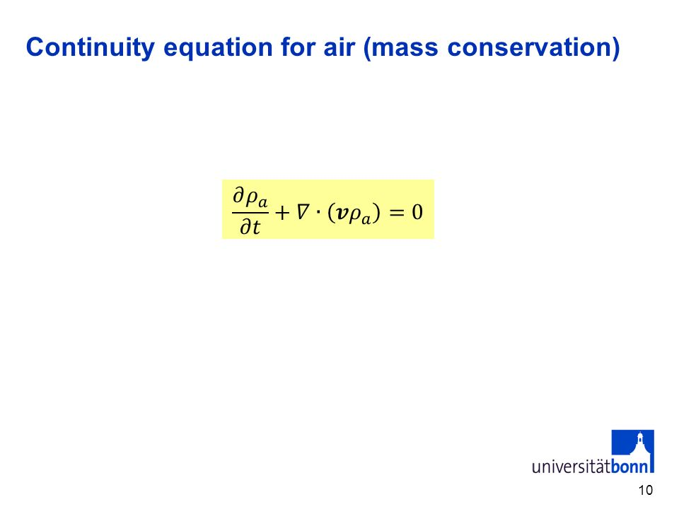Continuity equation for air (mass conservation)