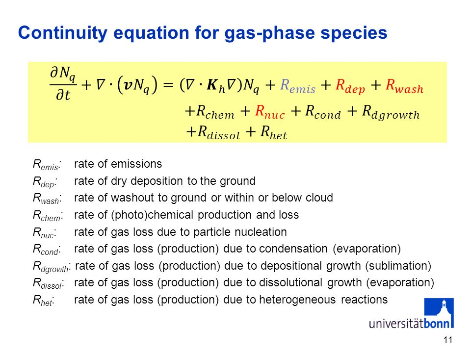 Continuity equation for gas-phase species