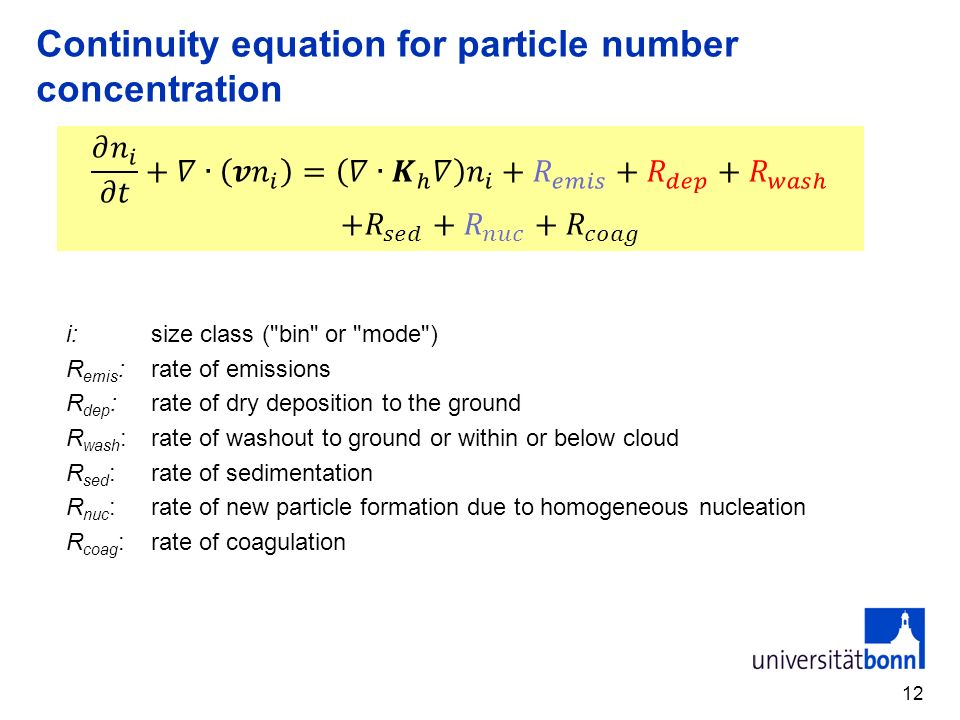 Continuity equation for particle number concentration