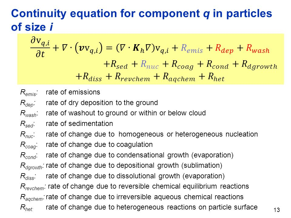 Continuity equation for component q in particles of size i