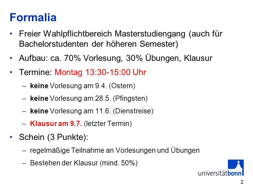 Formalia Freier Wahlpflichtbereich Masterstudiengang (auch für Bachelorstudenten der höheren Semester)