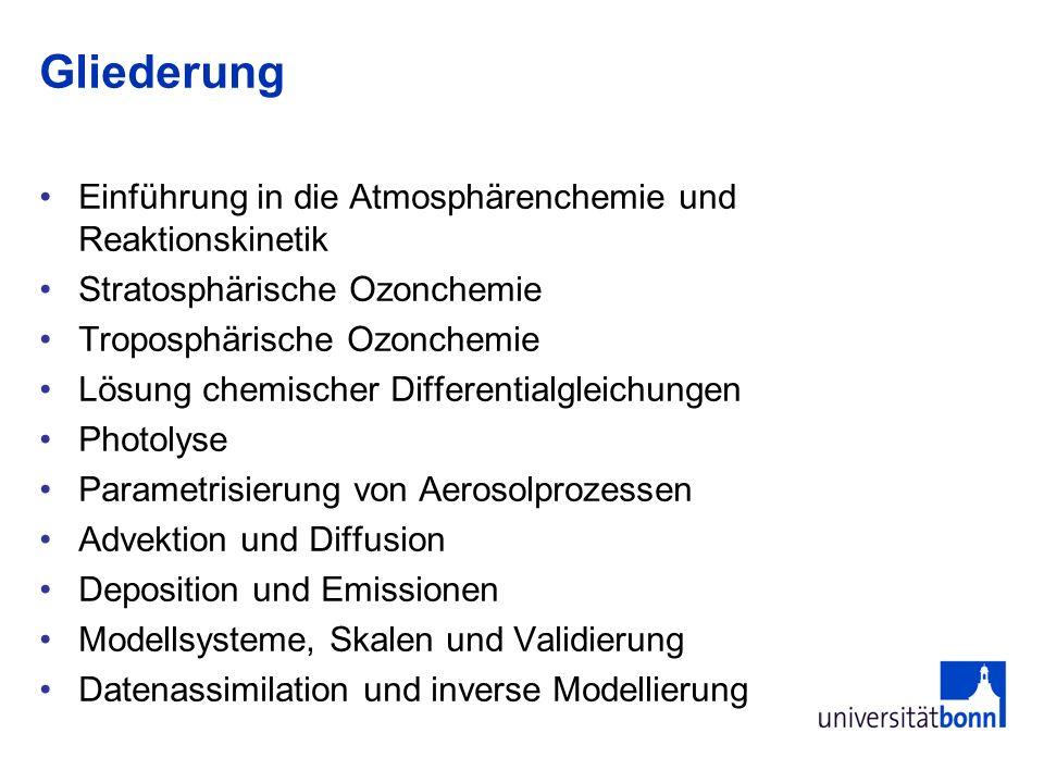 Gliederung Einführung in die Atmosphärenchemie und Reaktionskinetik