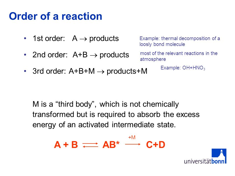 Order of a reaction A + B AB* C+D 1st order: A  products