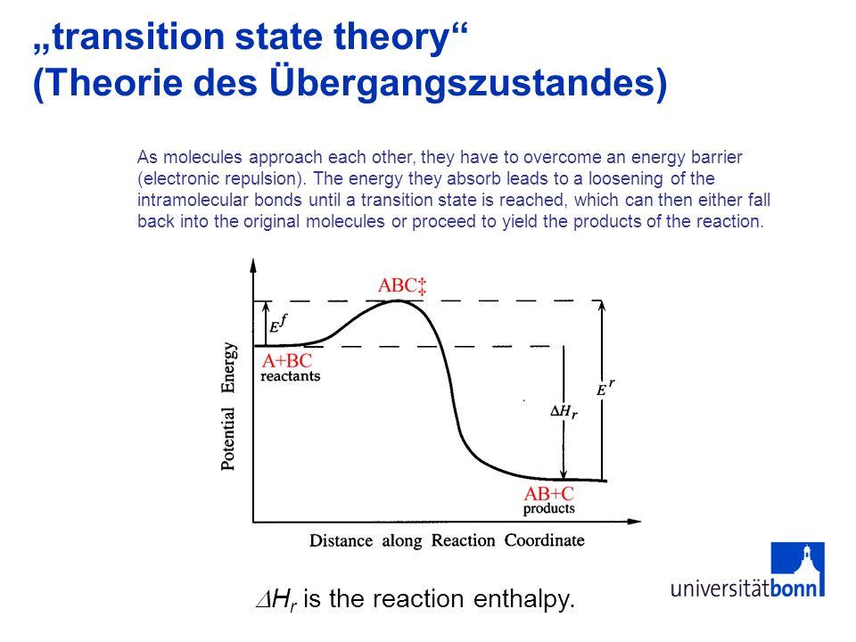 """transition state theory (Theorie des Übergangszustandes)"