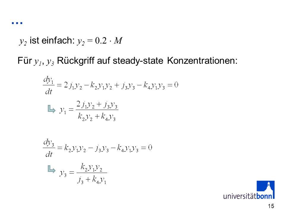 … y2 ist einfach: y2 = 0.2  M Für y1, y3 Rückgriff auf steady-state Konzentrationen: