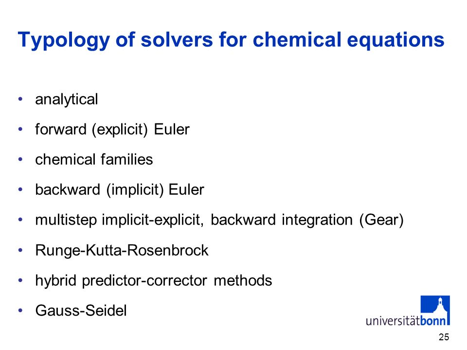 Typology of solvers for chemical equations