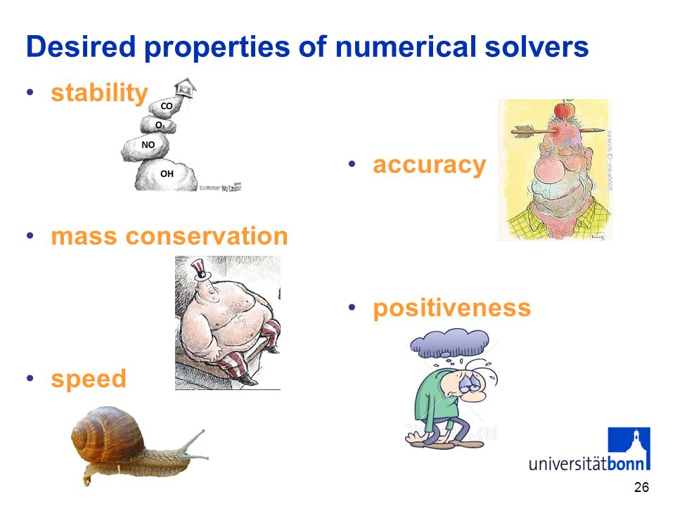 Desired properties of numerical solvers