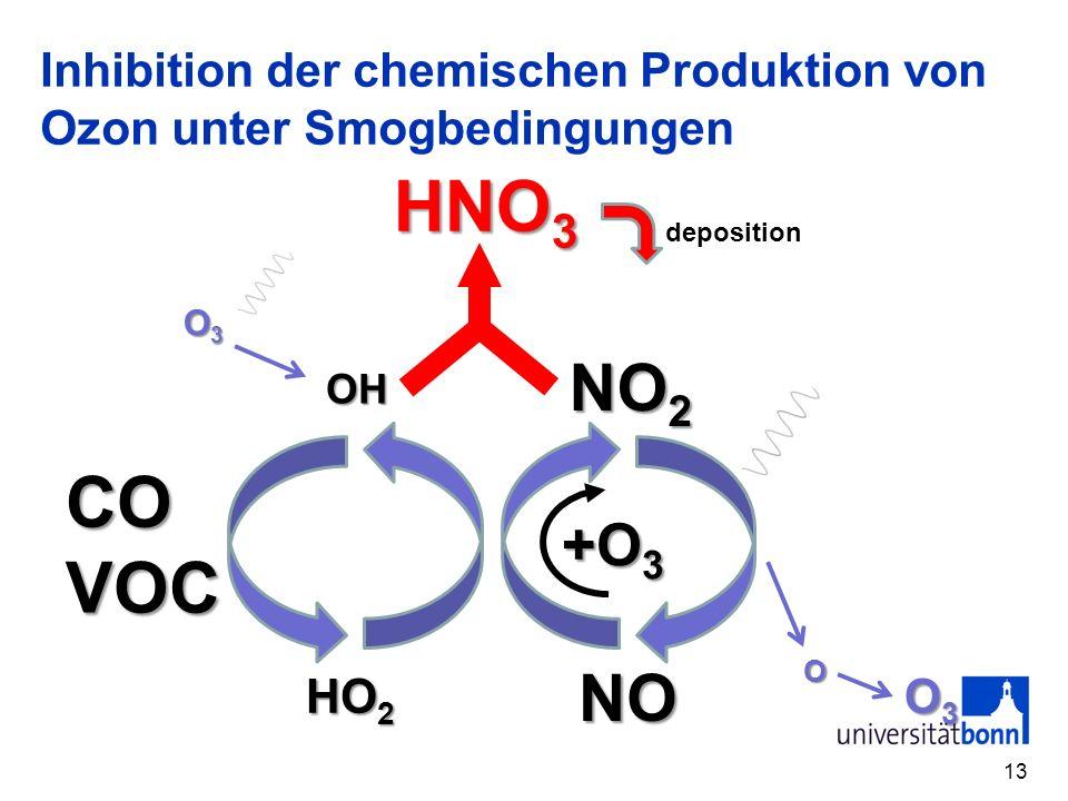 Inhibition der chemischen Produktion von Ozon unter Smogbedingungen