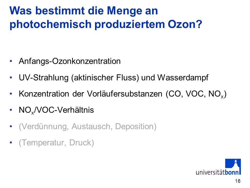 Was bestimmt die Menge an photochemisch produziertem Ozon