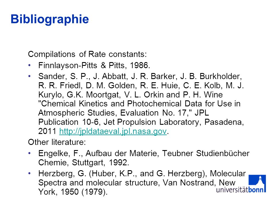 Bibliographie Compilations of Rate constants: