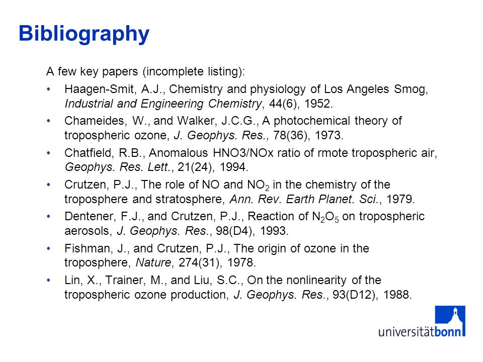 Bibliography A few key papers (incomplete listing):