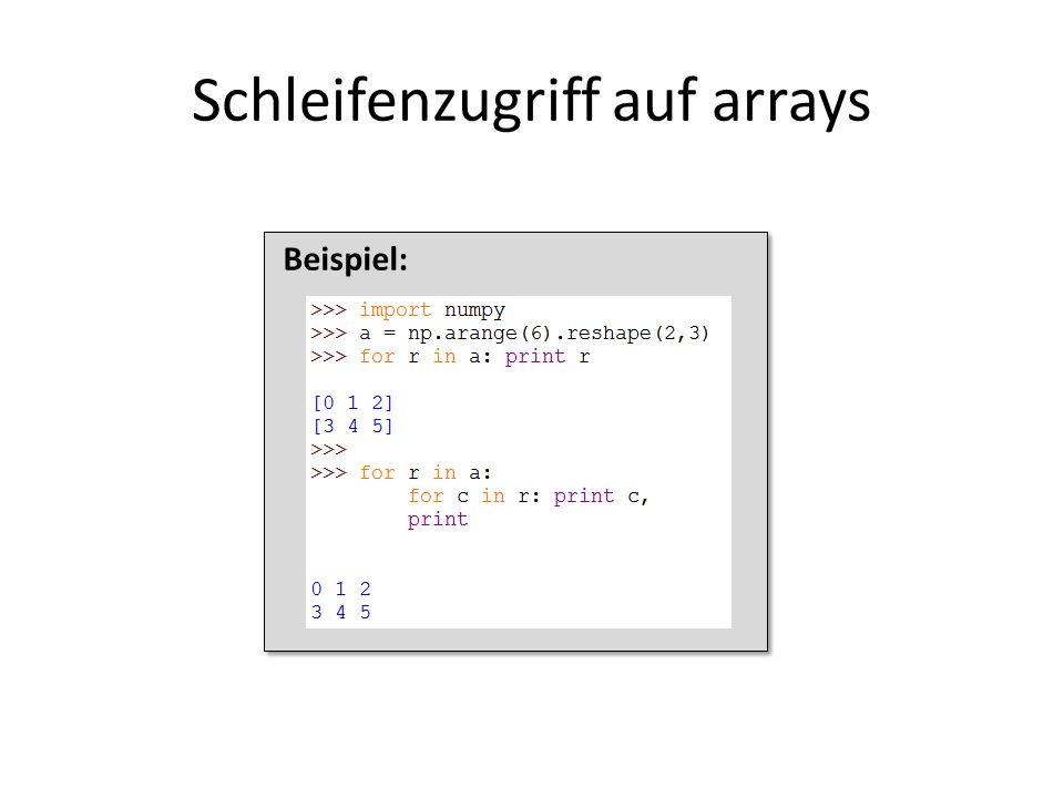 Schleifenzugriff auf arrays