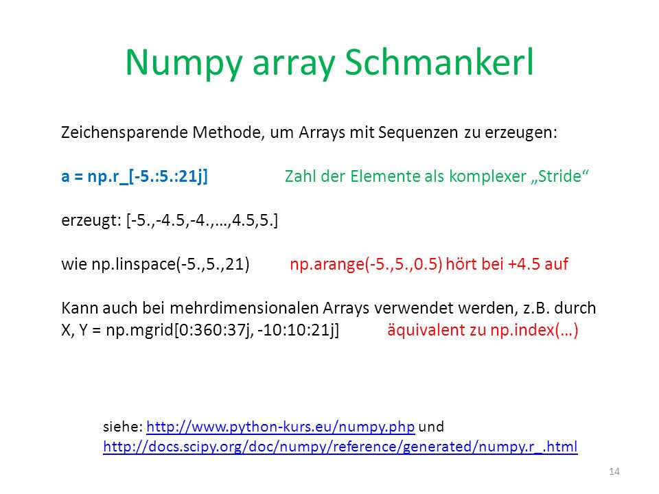 Numpy array Schmankerl
